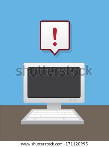 Computer with floating message bubble exclamation error  - stock vector