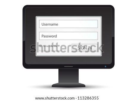 computer with log in member area with remembering and forgot password