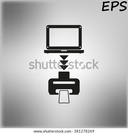 computer with monitor icon, vector illustration