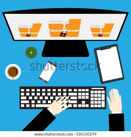 Computer with ransomware encrypted file on victim computer with affected a critical business file. - stock vector