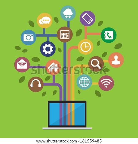 Computer with social media icons.Illustration EPS10 - stock vector