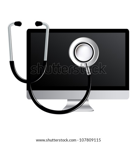 Computer With Stethoscope, Isolated On White Background, Vector Illustration