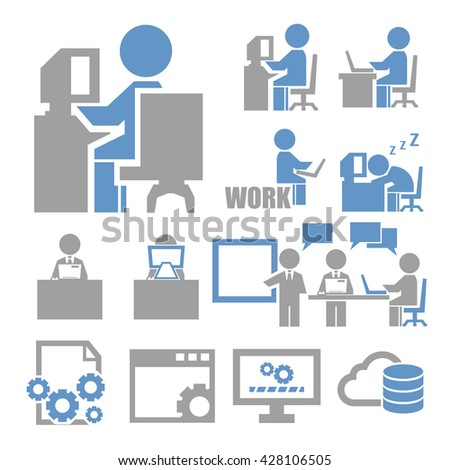 computer worker icon set - stock vector