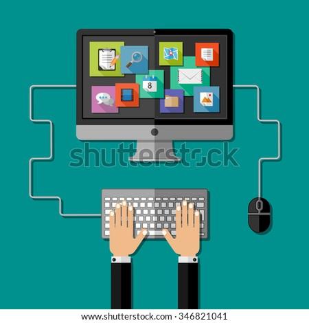 Computer workplace.  Flat design. Vector illustration.  - stock vector