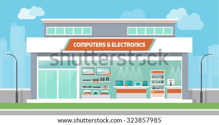 Computers and electronics store building and interior, laptops mobile phones and television screens showcase and city skyline on background - stock vector