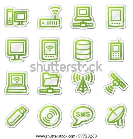 Computers and electronics web icons set 1, green sticker series - stock vector
