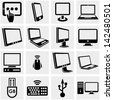 Computers vector icons set on gray. - stock vector