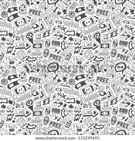 computers , web doodles - seamless pattern - stock vector