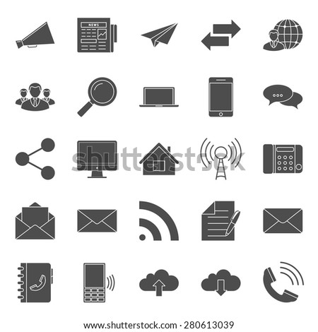 Comunication and web silhouettes icons set vector graphic illustration design - stock vector