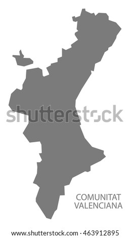 Comunitat Valenciana Spain Map in grey