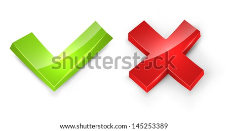Concaved 3D tick and cross signs isolated on white background. - stock vector
