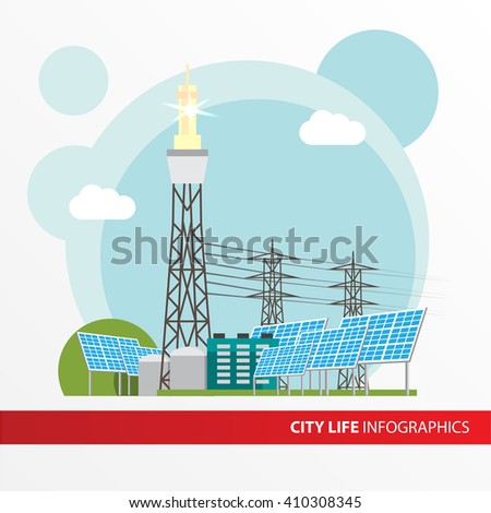 Concentrated solar power station. Colorful illustration in a flat style. All types of power stations. System with Concentrator photovoltaics,  electrical power generator and Solar power tower - stock vector