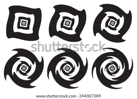 Concentric black and white geometric shapes with twirling and round spinning optical illusion effects isolated on white background - stock vector