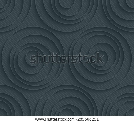 Concentric circles dark perforated paper with outline extrude effect. 3d seamless background. See others in My Perforated Paper Sets. - stock vector