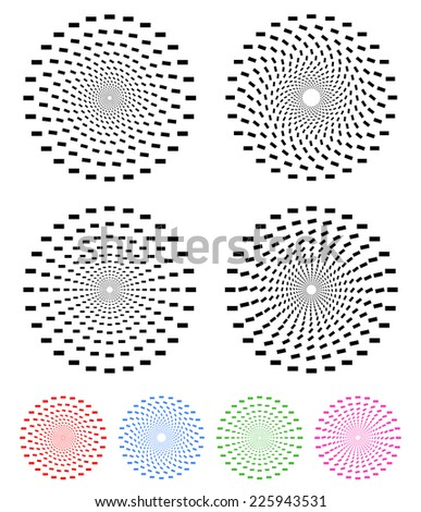 Concentric compositions of rectangles with colored and uncolored versions - stock vector