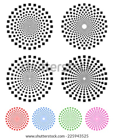 Concentric compositions of squares. Colored, uncolored versions with different rotation effects - stock vector