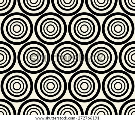 Concentric dark, black circles. Repeatable pattern. Vector. - stock vector