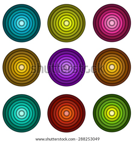 concentric pipe shape in multiple colors over wite - stock vector