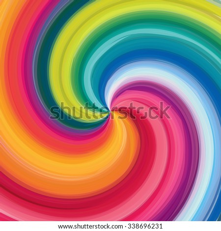 Concentric rainbow, spirally lines with spectrum colors. Twisting, rotating lines in multicolor fashion.  - stock vector