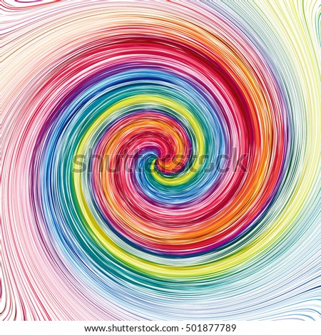 Concentric, spirally lines with spectrum colors. Twisting, rotating lines in multicolor fashion. Abstract vector background.