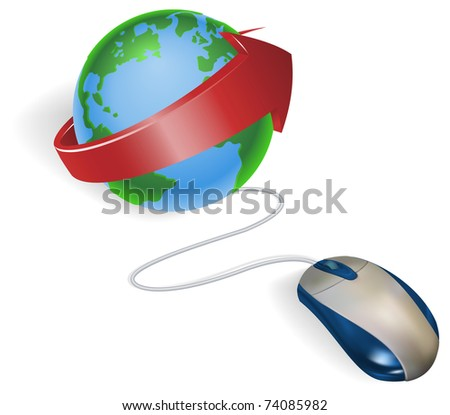Concept. A mouse connected to a world globe with arrow. - stock vector