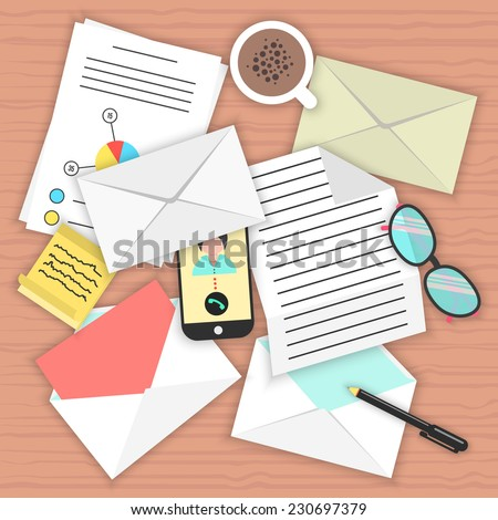 concept analysis of correspondence on the table. top view of desk background with smartphone, open and closed envelopes, office objects, coffee and documents. flat style modern vector illustration - stock vector