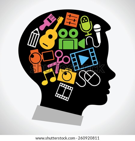 Concept art education. Set icons of creativity in the silhouette of the head of the child - stock vector