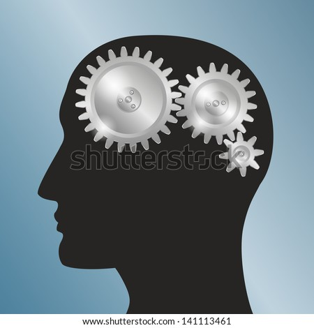 Concept background with schematic representation of the human head with gears. EPS10 Vector. - stock vector