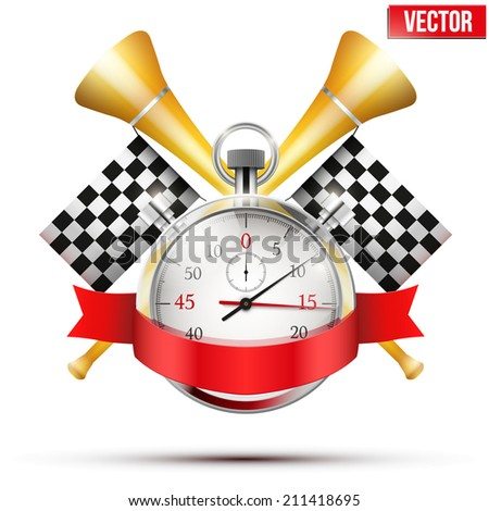 Concept banner Car racing and championship. Stopwatch and flags. Editable Vector Illustration. - stock vector