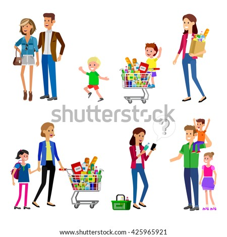 Concept banner for Shop, supermarket. Vector character people in supermarket, cart, delivery, family shopping. Healthy eating and eco food in supermarket. Vector flat illustration for supermarket. - stock vector