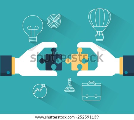 concept banner of team work, vector illustration - stock vector