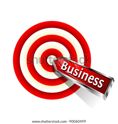 Concept business icon.  Red dart hitting a target. Vector sign. - stock vector