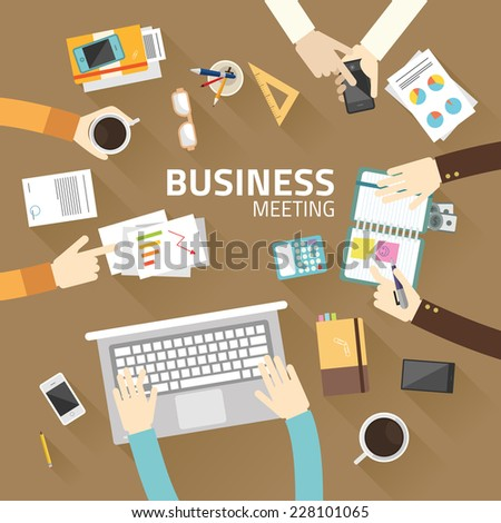 Concept business of teamwork analyzing project on business meeting flat design vector illustration  - stock vector