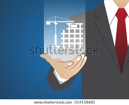 Concept Businessman in his hands ,The construction of housing - stock vector