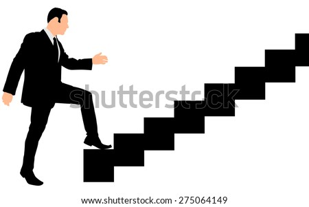 Concept, businessman on stair or steps, metaphor to success, climb, business, rise, achievement, growth, job, career, leadership, education, goal or future