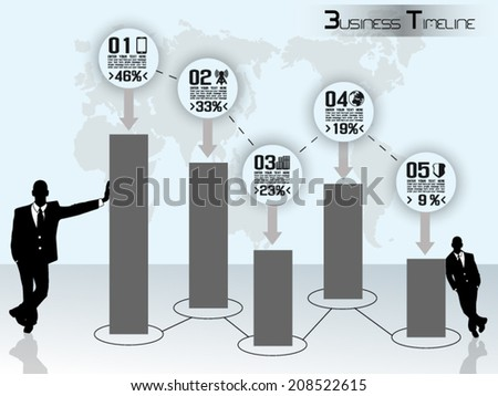 CONCEPT BUSINESSMAN TIMELINE GRAPHIC - stock vector