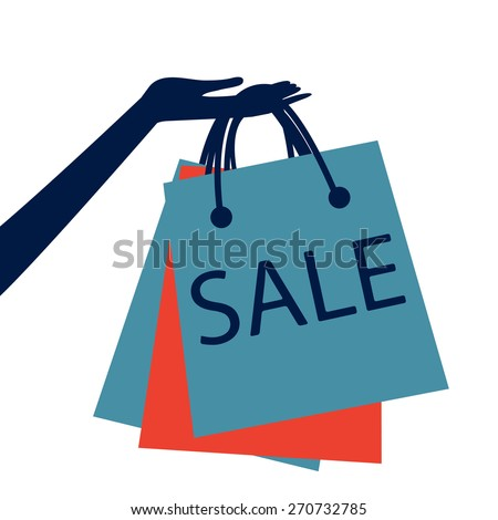 Concept card for sales. hand holding shopping bag with sale  - stock vector