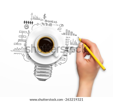 Concept design - hand with pencil and coffee cup, in vector format - stock vector