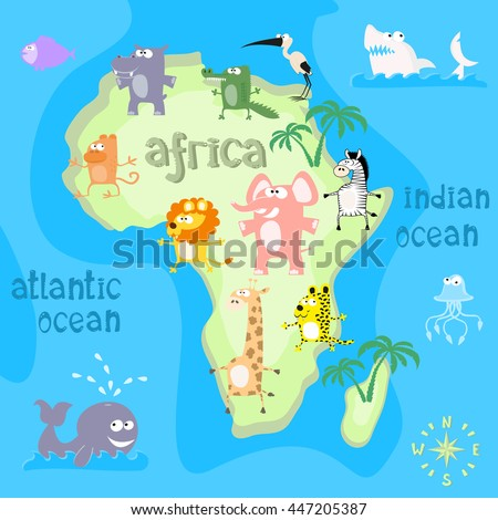 concept design map of african continent with animals drawing in funny cartoon style for kids and
