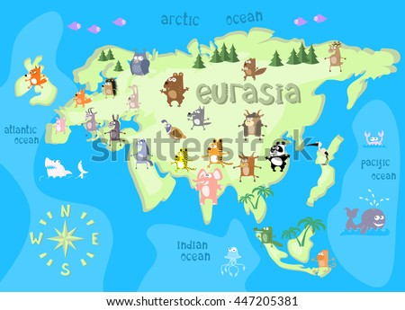 Concept design map of eurasian continent with animals drawing in funny cartoon style for kids and preschool education. Vector illustration