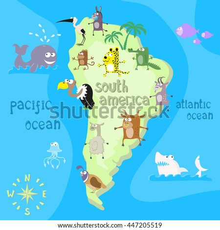 Concept design map of south american continent with animals drawing in funny cartoon style for kids and preschool education. Vector illustration
