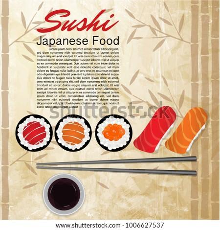 Concept design invitation sushi restaurant vector stock vector concept design of the invitation sushi restaurant vector illustration texture of a bamboo stopboris Images