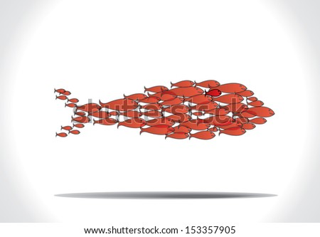 concept design vector illustration art of group of beautiful red fishes team work to organize themselves to swim in the shape of a big fish - stock vector