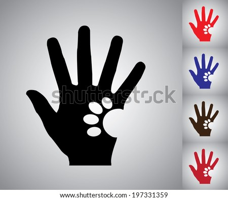 Concept design vector Illustration art of Human Hand Silhouette holding a paw of a Dog or a Cat - colorful collection set - stock vector