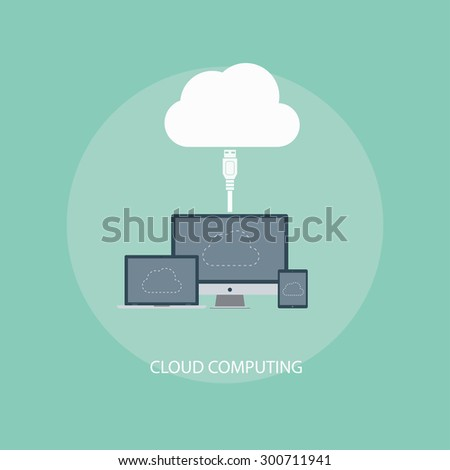concept design vector illustration of a flat business icons information being computed cloudy, cloudy Union, cloud storage, data transfer - stock vector