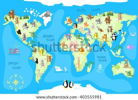 Concept design world map with animals of all the continents and oceans drawing in funny cartoon style for kids and preschool children. Vector illustration - stock vector