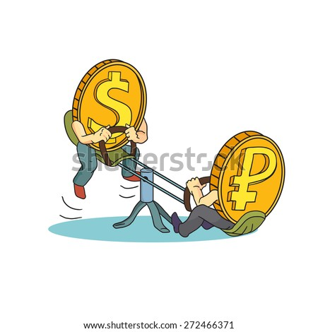 Concept drawing: high rate of dollar compared with Russian ruble. Ruble and Dollar coins swinging on teeter.  - stock vector