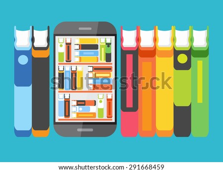 Concept education . Telephone with books on screen surrounded by other books. Concept of e-learning. The idea of education in the Internet. This illustration contains transparency - stock vector