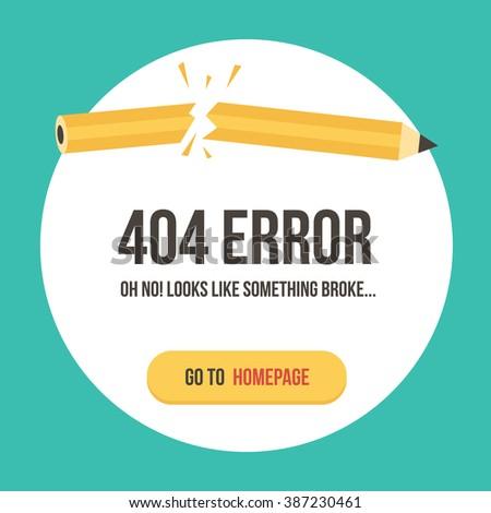 Concept 404 error page vector illustration. Error web page template. - stock vector