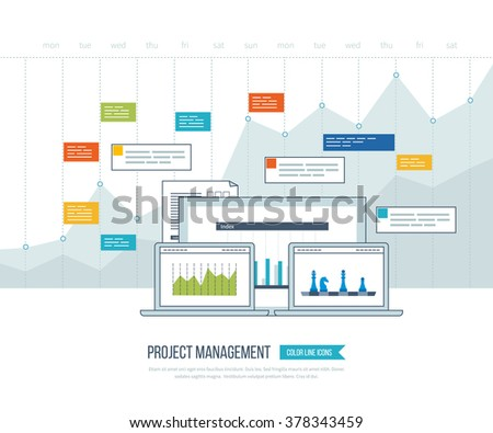 Concept for business analysis, financial report, investment, consulting, strategy planning, project and strategic management, market data analytics. Investment growth. Management consulting.  - stock vector